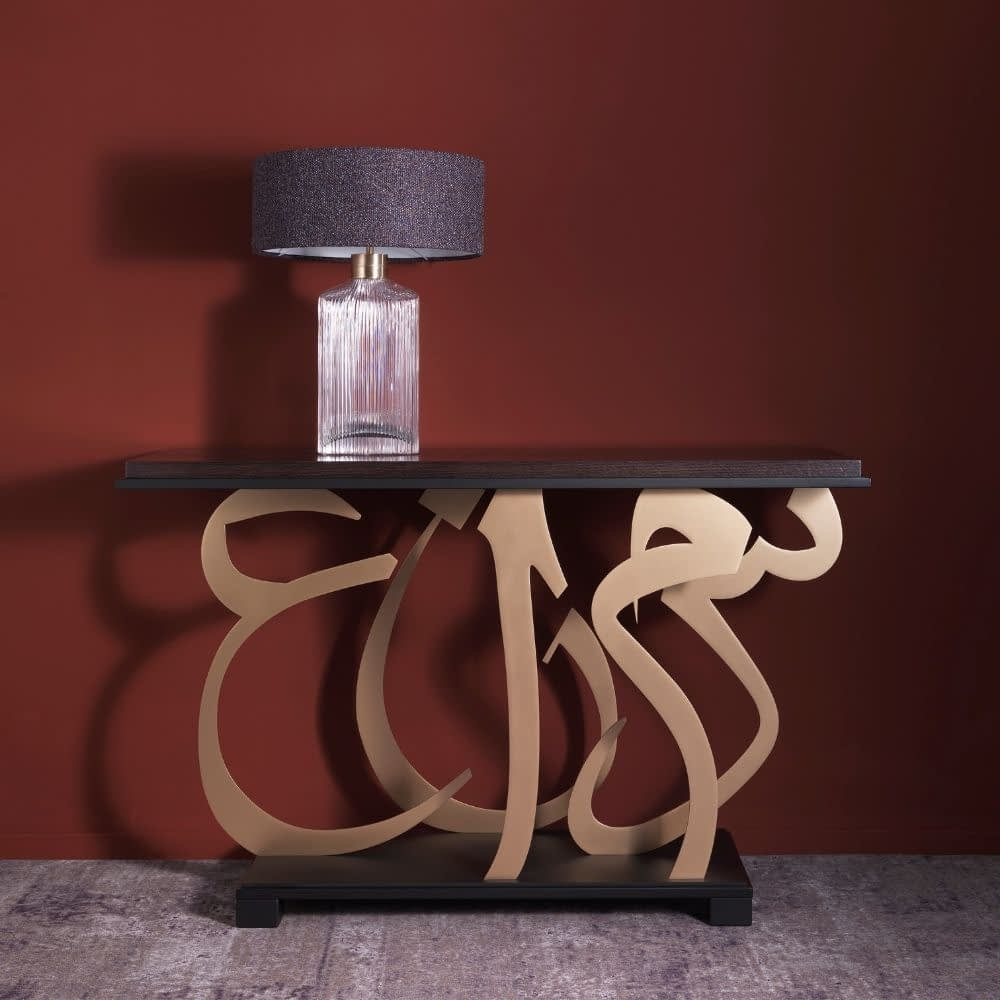 consolle con lampada da tavolo